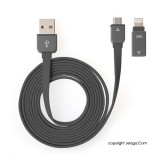 J-Save Kabel USB 2 in 1 Micro to iPhone - Black